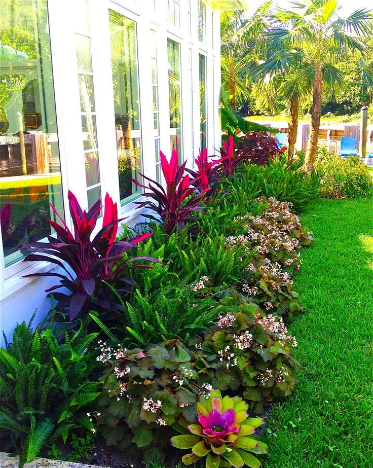 Stunning Way To Add Tropical Colors To Your Outdoor Landscaping Front Yard Landscaping Design Outdoor Landscaping Florida Landscaping
