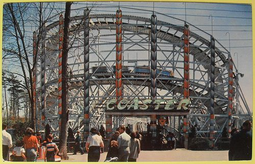1950s Vintage Postcard Amut Park Rides Midway At Sylvan Beach New York Roller Coaster By Montone Via Flickr