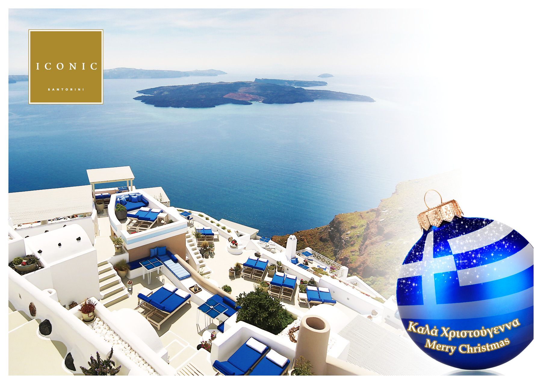 Happy New Year From Iconic Santorini And Best Wishes For