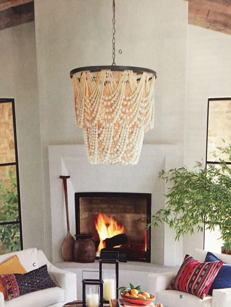 Foyer Lighting Pottery Barn : Pottery barn amelia wood bead chandelier home decor
