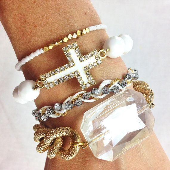 White+and+Gold+Bracelet+Stack+by+dAnnonEtsy+on+Etsy,+$38.00