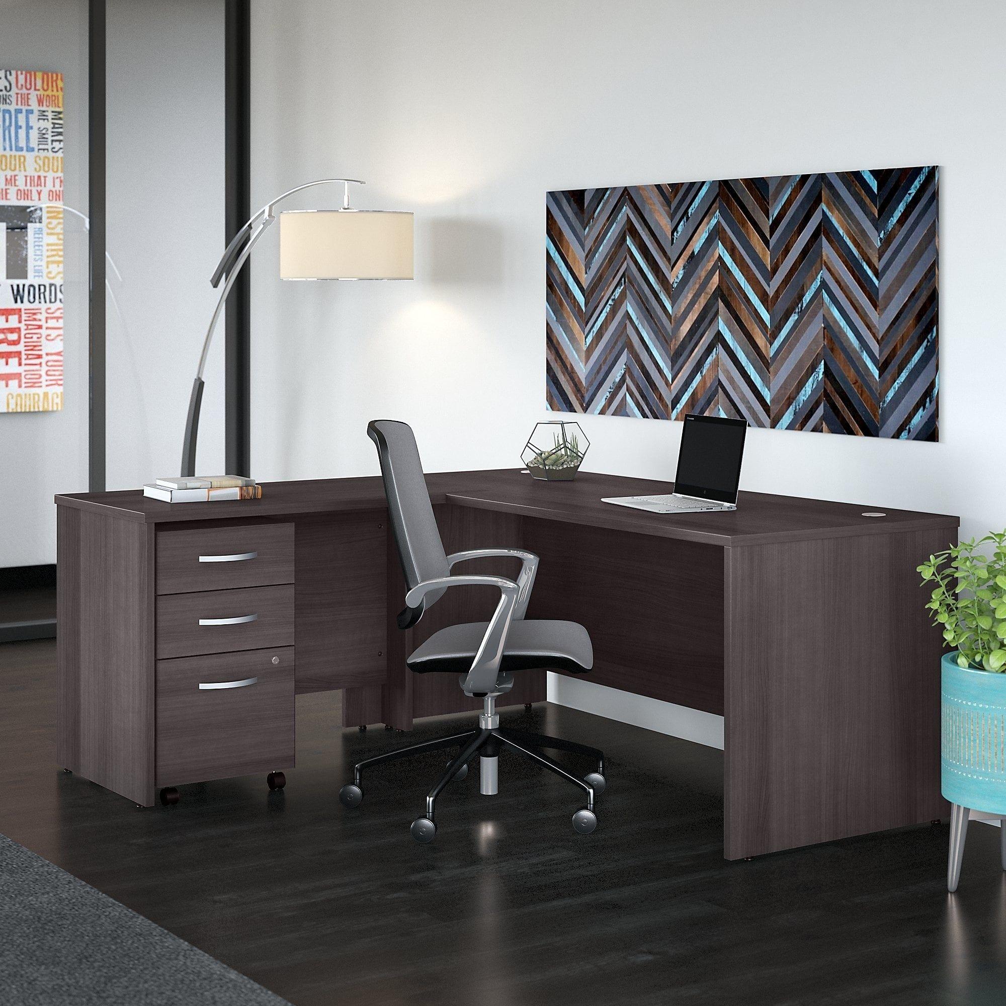 Bush business furniture studio c w l shaped desk mobile file