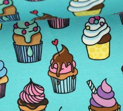 Jersey Cupcakes Omg Hamburger Liebe Turkisblau Stoffchen