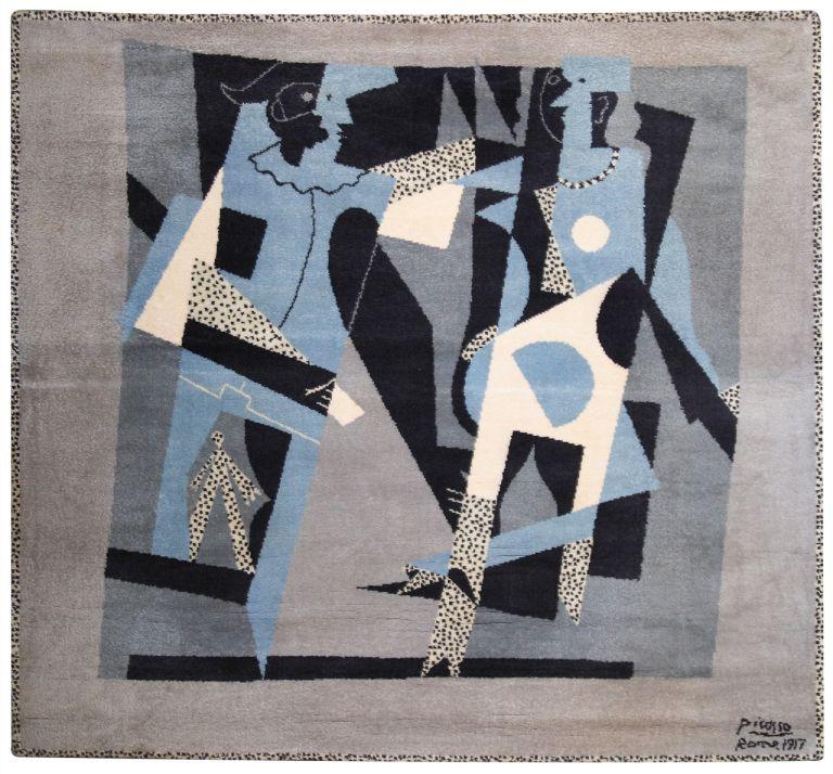 PABLO PICASSO, Arlequin y mujer con collar-rug, (original artwork 1917).