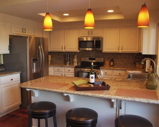 Contemporary Kitchen Replacing Fluorescent Lights Design