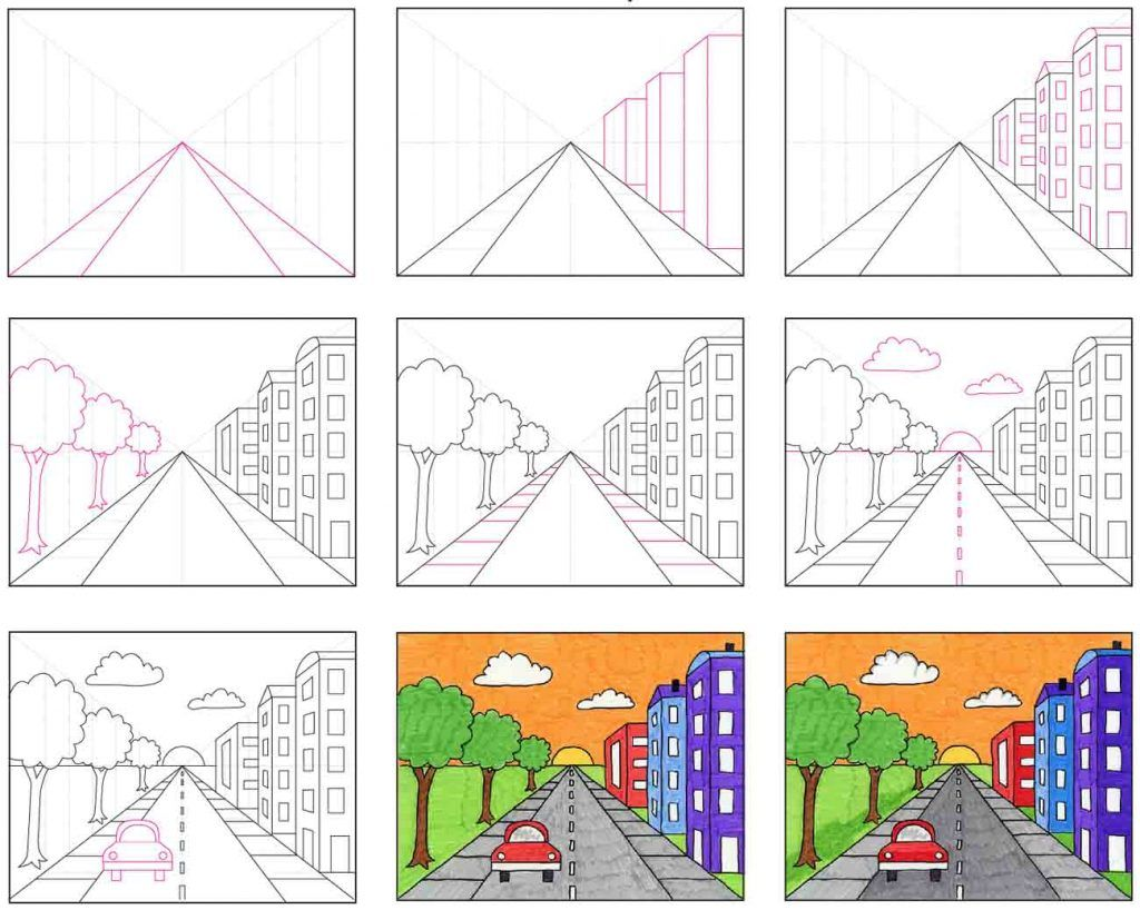 Draw a City with One Point Perspective in 2020 | Kids art ... Easy One Point Perspective Drawing For Kids