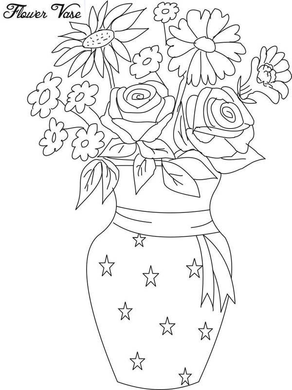 Drawing Flower Vase Coloring Page Coloring Sky Flower Drawing Printable Flower Coloring Pages Pencil Drawings Of Flowers