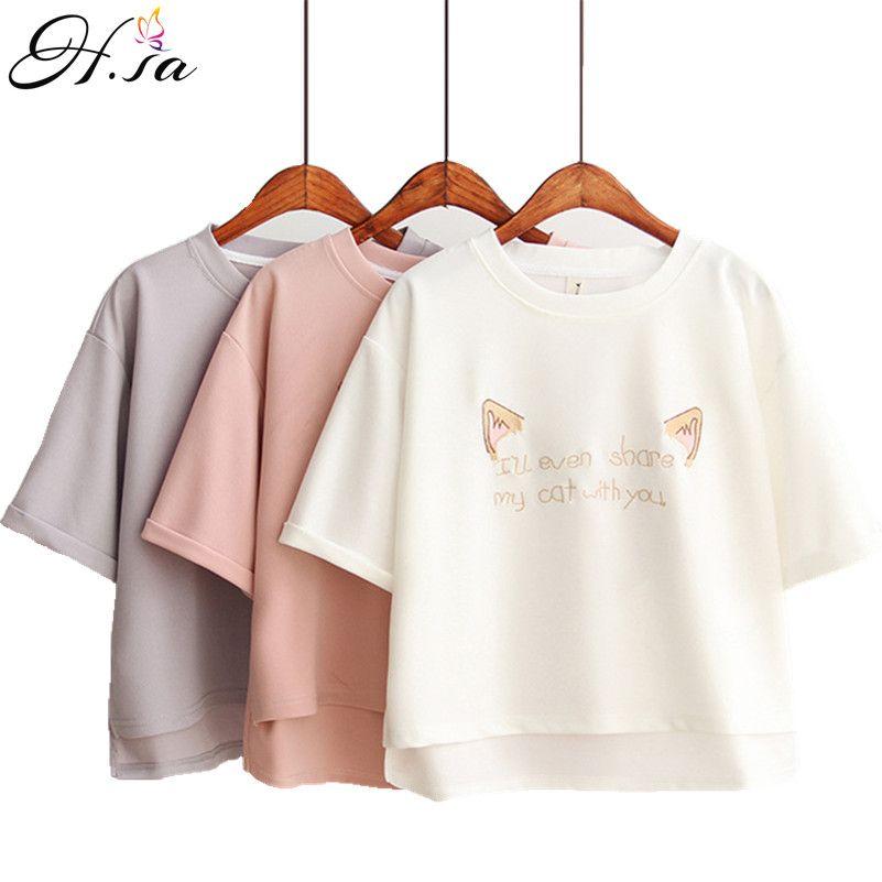 2017 Summer T shirt Tops Women Loose Plus Size White Pink Short ...