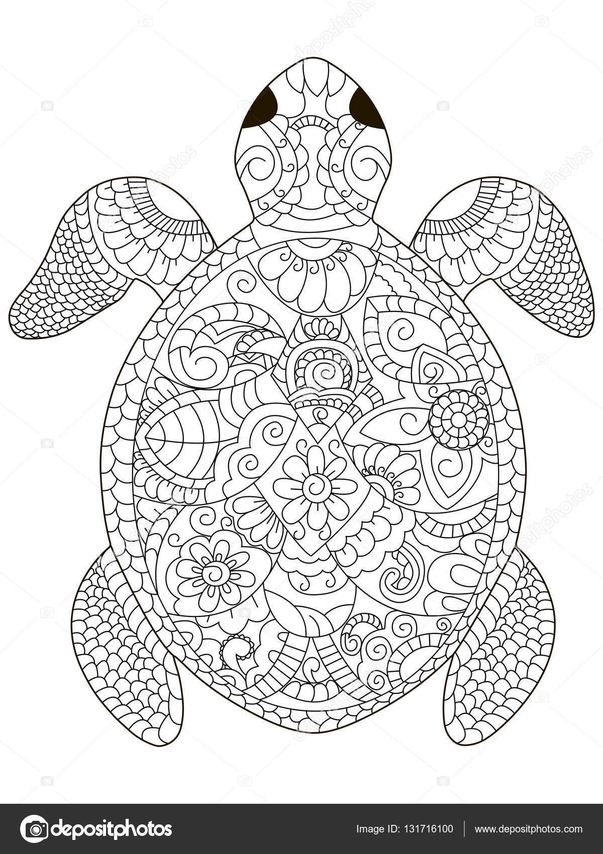 afbeelding coloring turtle penguin door barbara