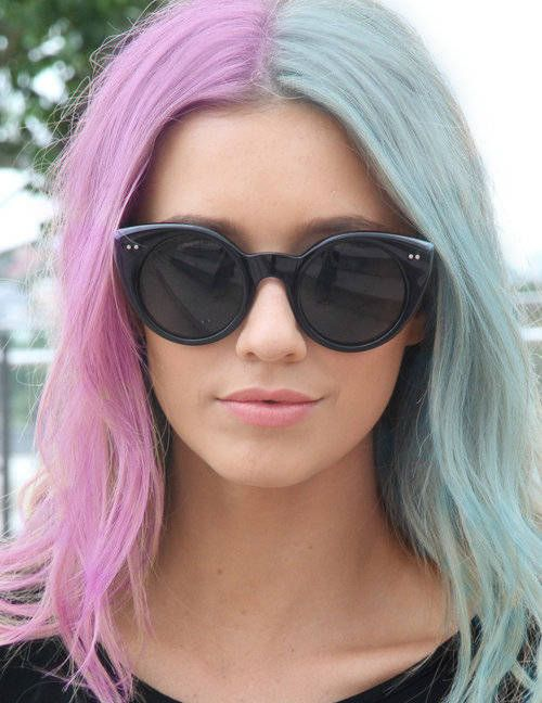 Pastel Hair Half Pink And Half Blue Two Toned Hair Pink Blue
