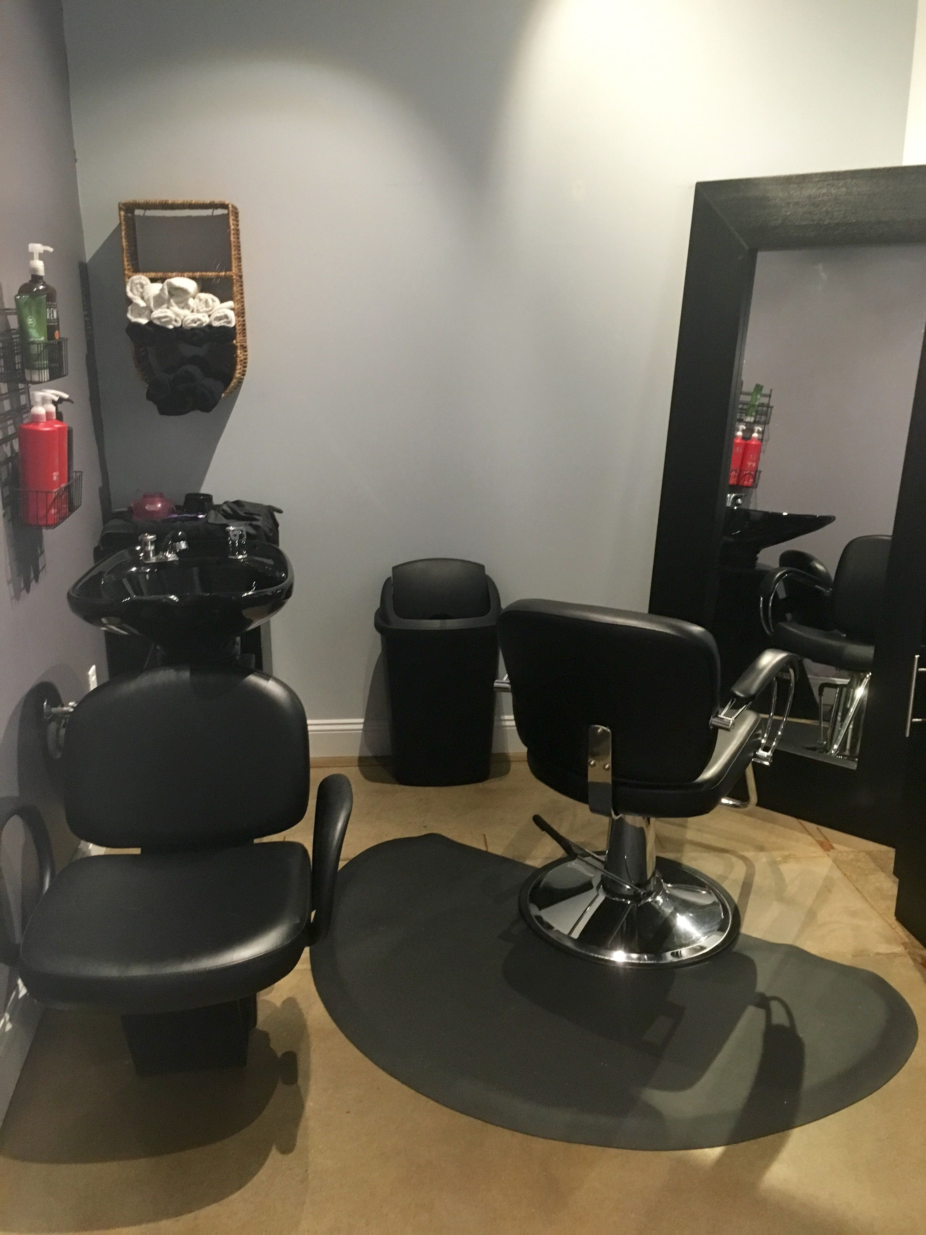 Suite 131 Erika S Hair Studio Decorated With Pops Of Purple To Brighten The Space Home Hair Salons Salon Decor Studio Salon Suites Decor