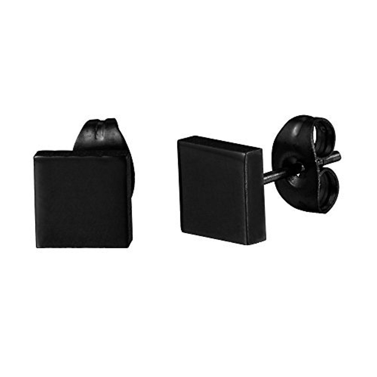 Mens Classic Matte Black Square Stud Earrings Minimalist Style in Stainless Steel by R&B Jewelry -- Awesome products selected by Anna Churchill