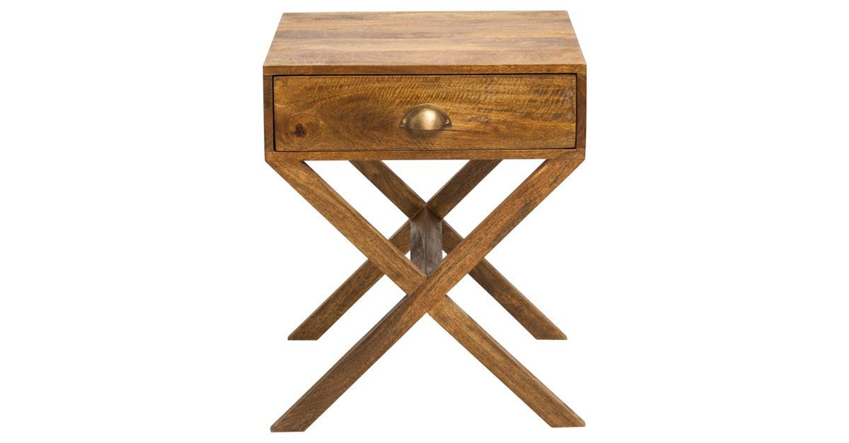The perfect piece for a living room, bedroom, or office, this compact side table features a versatile light brown finish, one spacious drawer, and gleaming antiqued brass hardware. It is...
