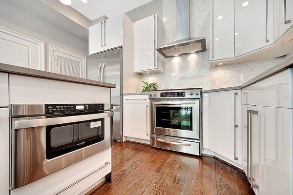 Euro Style High Gloss White Kitchen Cabinets