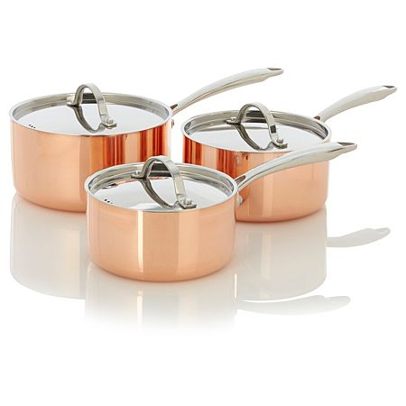 George Home Set Of Three Copper Tri Ply Saucepans Home