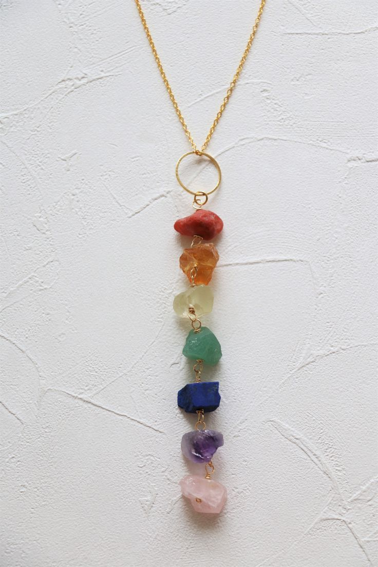 Chakra Necklace Made Of Raw Crystal Of Reg Agate Citrine Yellow Apatite Green Aventurine Lapiz Lazuli Amethy Raw Crystal Necklace Chakra Necklace Necklace