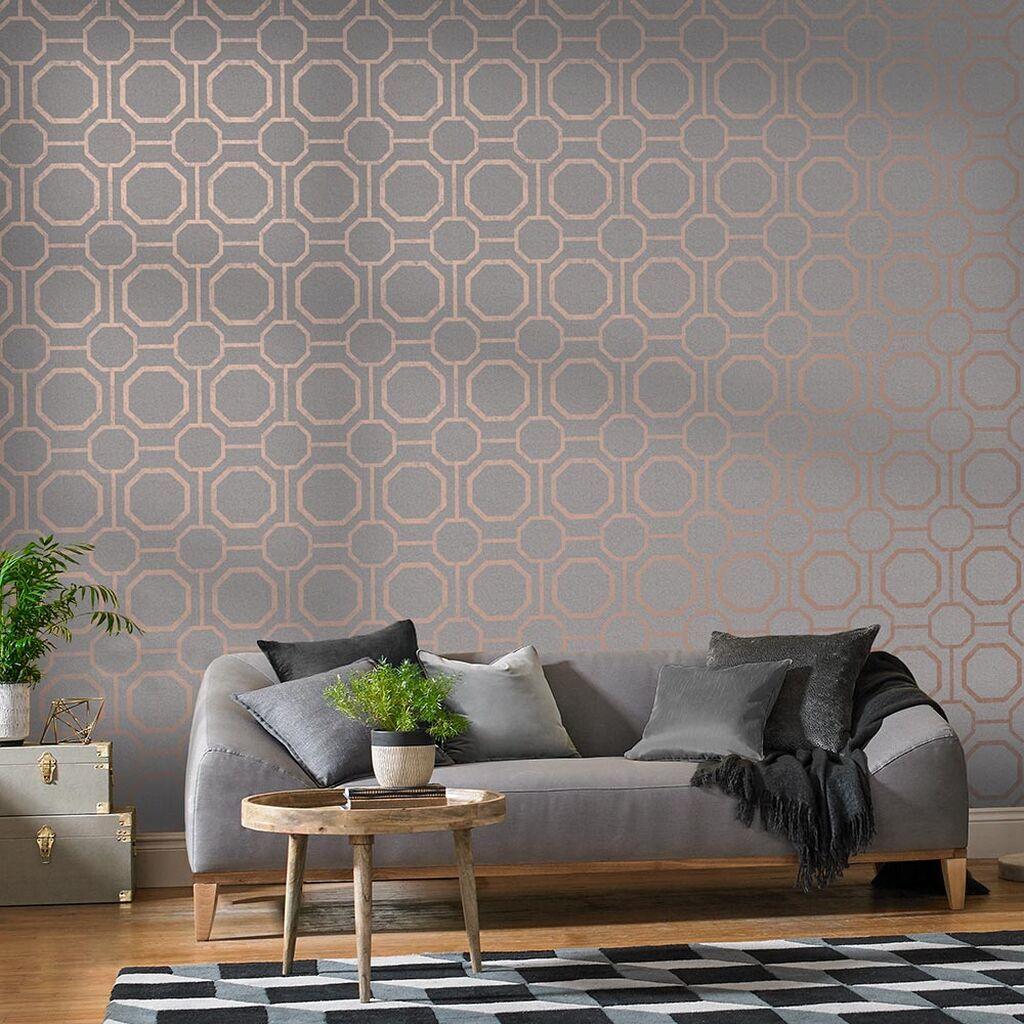 Sashiko Rose Gold Wallpaper Grey Wallpaper Graham Brown Grey Wallpaper Living Room Rose Gold Bedroom Gold Wallpaper