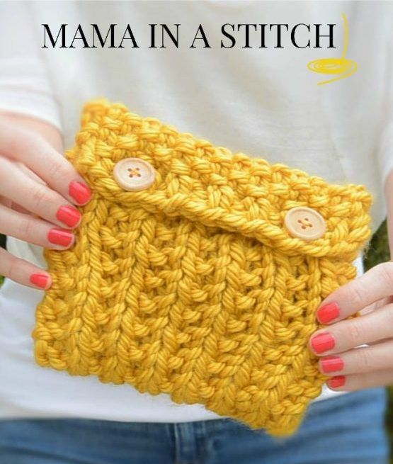 Free knitting pattern for Anything Pouch in super bulky yarn - Mama in a Stitch created this easy pouch pattern knit in broken rib stitch with super bulky yarn. Great stash buster!