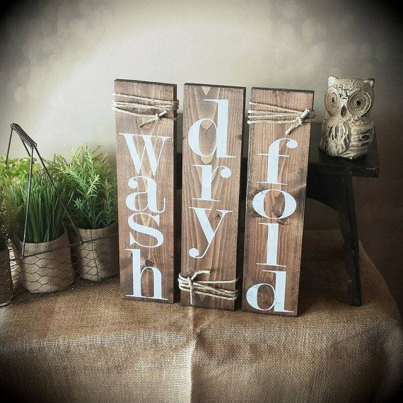 Wash Dry Fold Laundry Room Decor Signs Set Of 3 Rustic