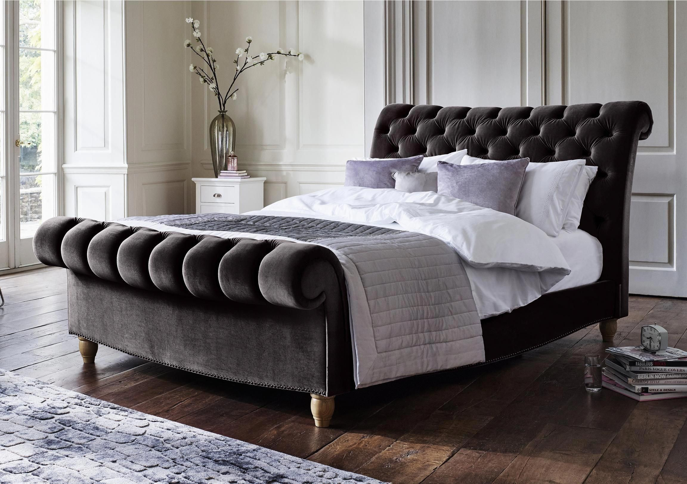 Opulent Handcrafted Bed Frame With Scrolling Headboard And