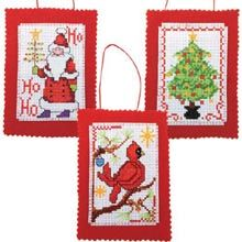 "Counted Cross-Stitch. These would make nice gift tags since the receiver can keep them! ""Signs of Christmas Ornaments"" Set of 6."