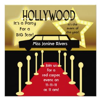 customized hollywood glamour birthday invitation | hollywood she's, Party invitations