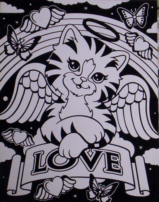 7cfdebbef24b Lisa FRANK Velvet Angel Kitty FOLDER Never Used Color w  Markers ...
