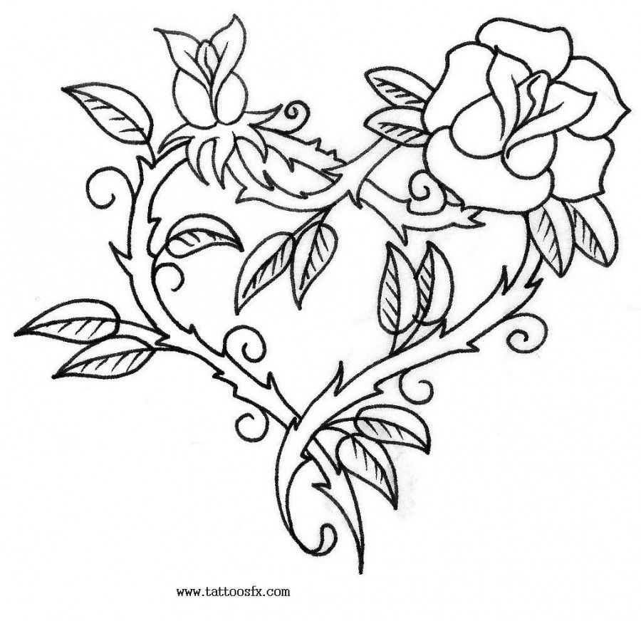 free printable floral tattoo designs | tattoo flash| free tattoo ... - Coloring Pages Hearts Flowers