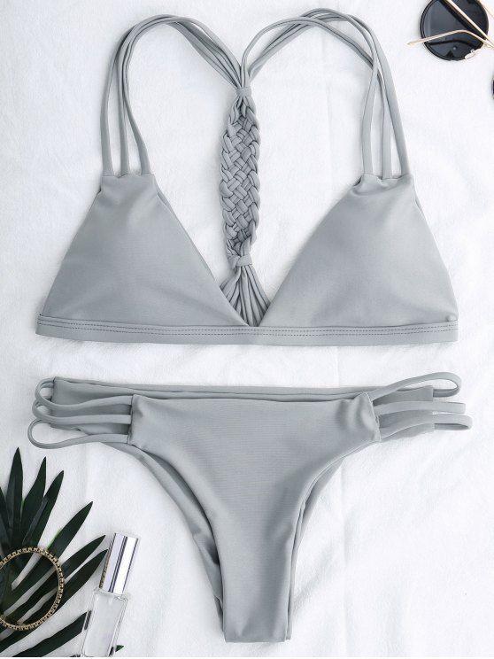 fc2f53fc1c $18.99 Cotout Strappy Bikini Set - GRAY S | ZAFUL BIKINI | Bikinis ...