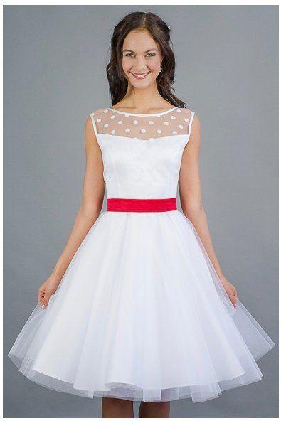 kratke svatebni saty s puntikatym zivutkem Svatební šaty Retro šaty krajka  výstřih V výstřih kulatý tylová d263a3da705