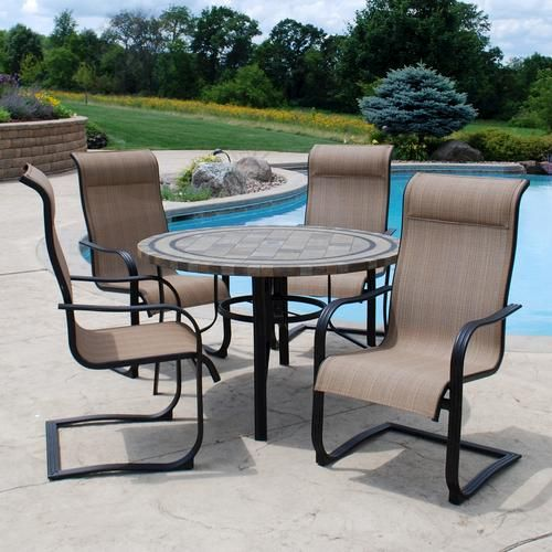 Delightful Backyard Creations 5 Piece Cascade Falls Dining Collection At Menards