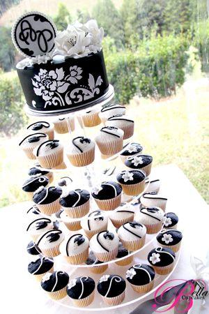 blanco y negro   ideas cupcakes   bodas negras, decoracion con