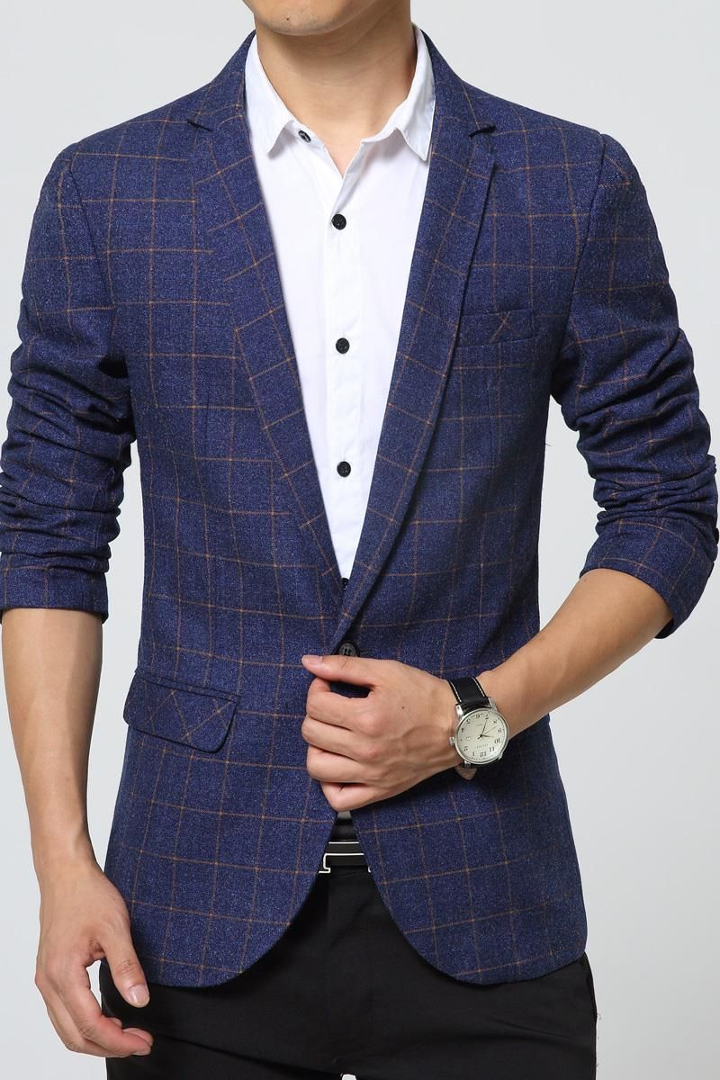 b7fc3aa6150 Mens Blazer Jacket plaid Slim Fit royal blue suit jacket Gray casual coat  long sleeve Ceket blaser masculine blazer hombre Male(China (Mainland))
