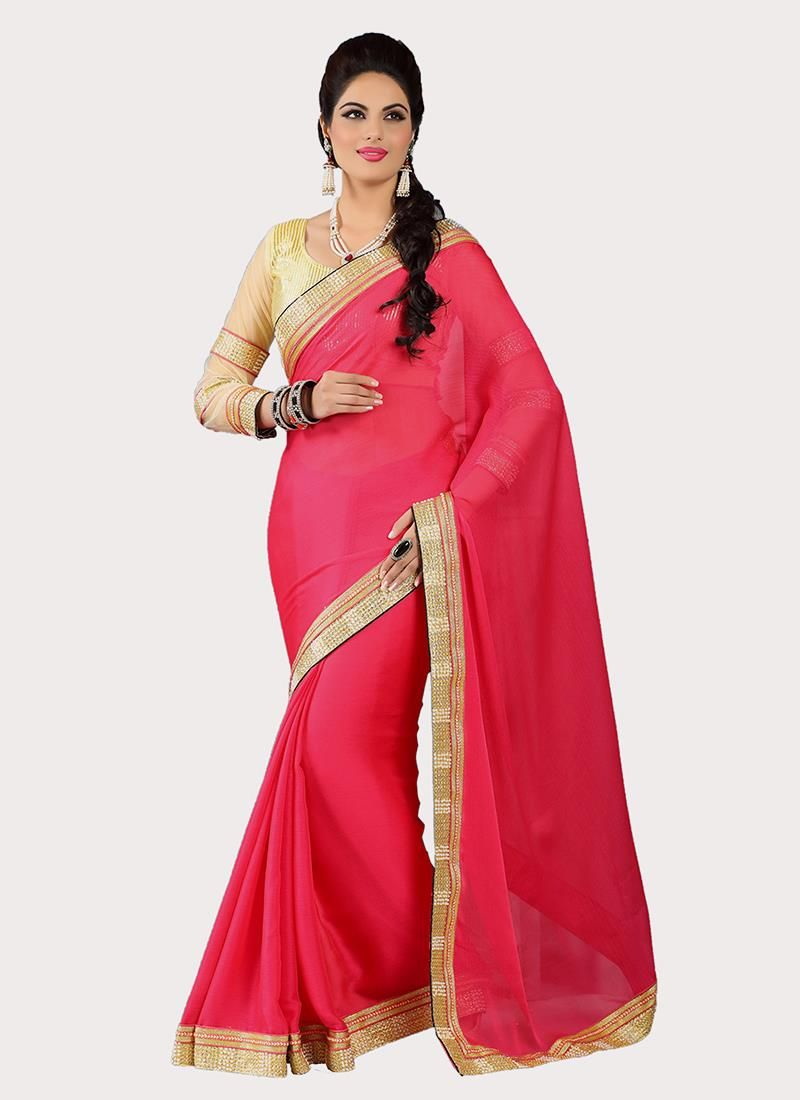 India's leading sarees store offers the online shopping of designer saree. Grab the faux crepe embroidered and patch border work hot pink designer saree.