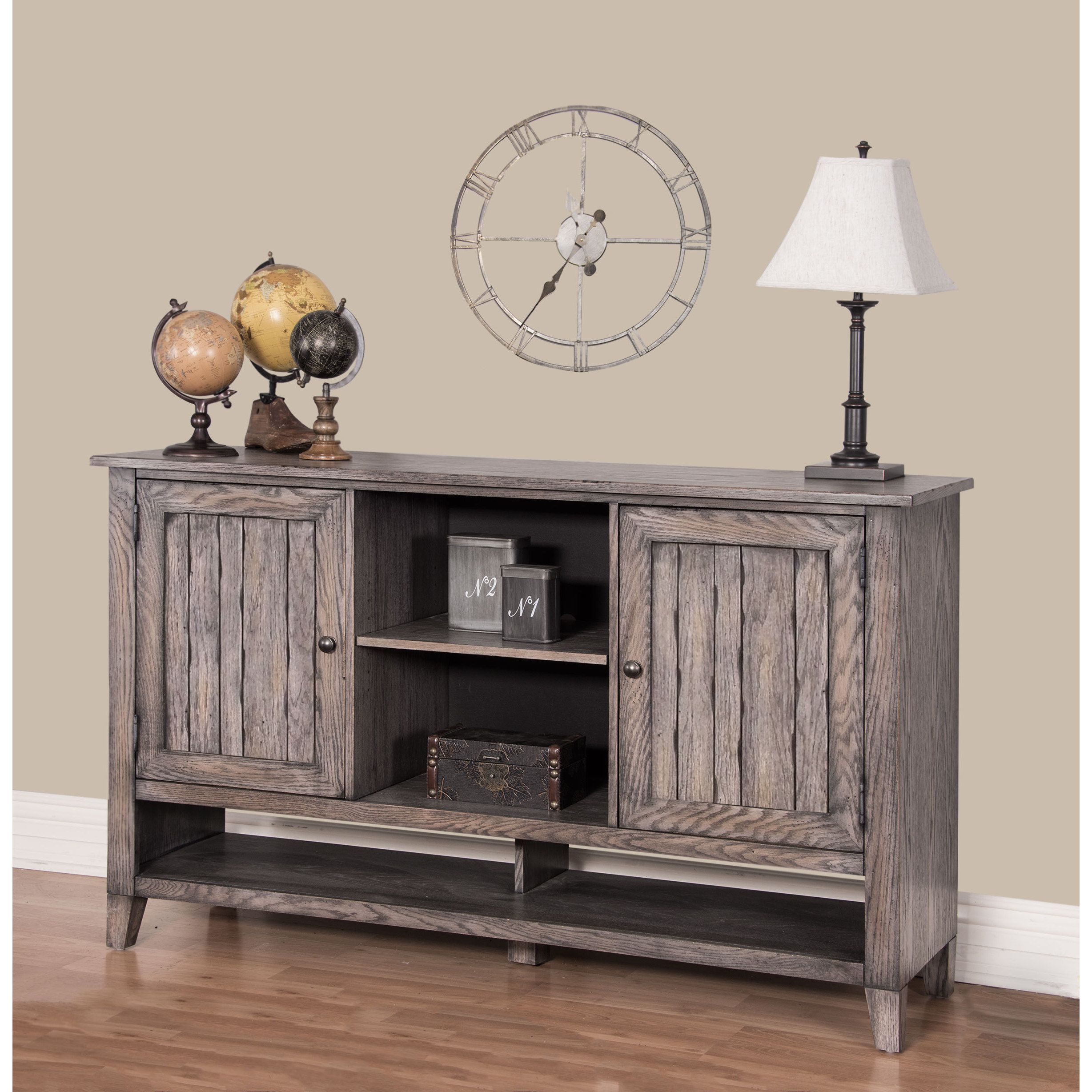 Martin hadlock deluxe living room console weathered greige brown