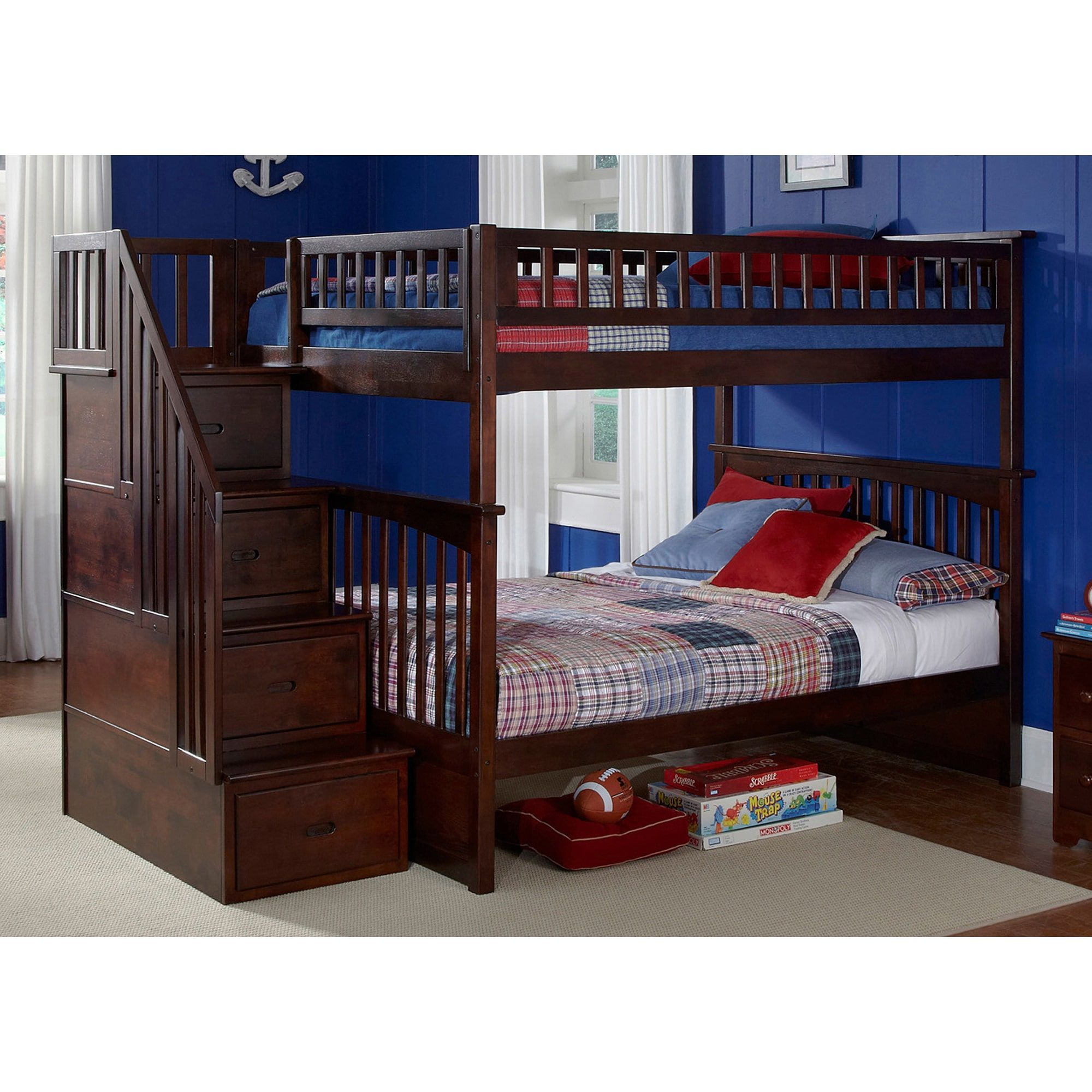 Queen loft bed ideas  Atlantic Furniture Columbia Staircase Bunk Bed Full over Full in