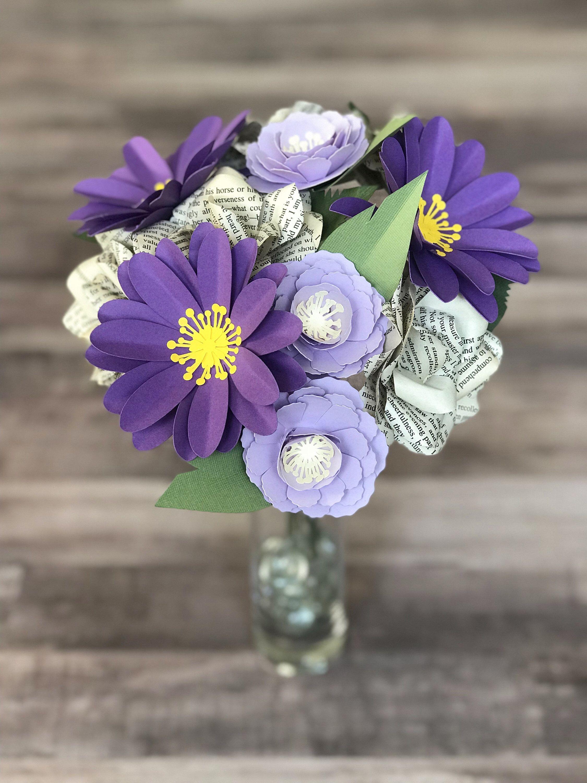 Jane austen gift for reader paper flower bouquet book paper purple pride and prejudice paper flower bouquet izmirmasajfo