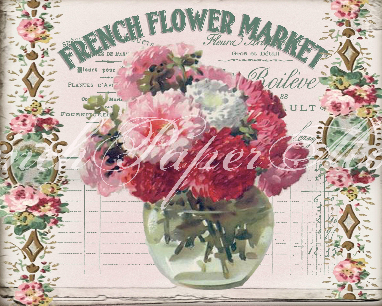 Digital Shabby Chic French Flower Market Vintage Flowers Etsy French Flowers Vintage Flowers Flower Market