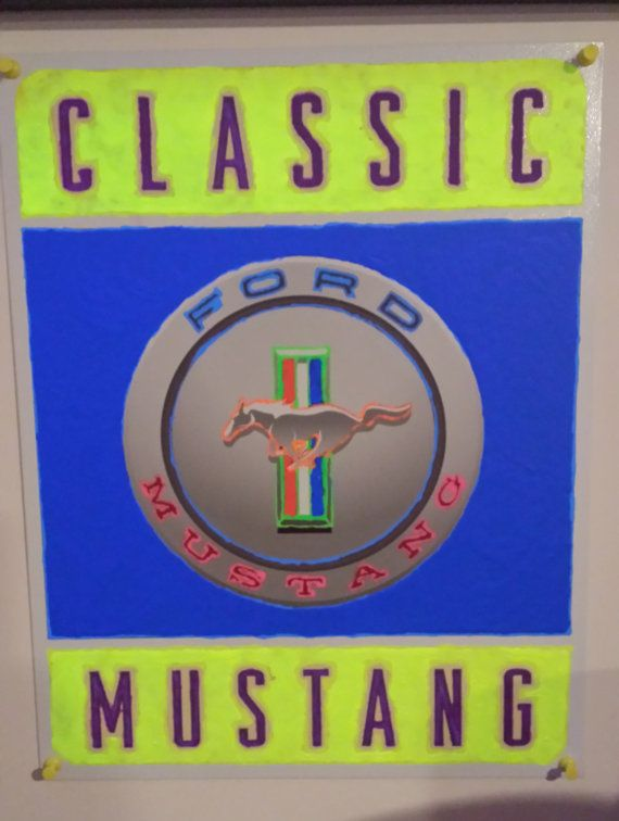 Classic Ford Mustang Tin Black Light Sign by MintHillGalz on Etsy, $20.00