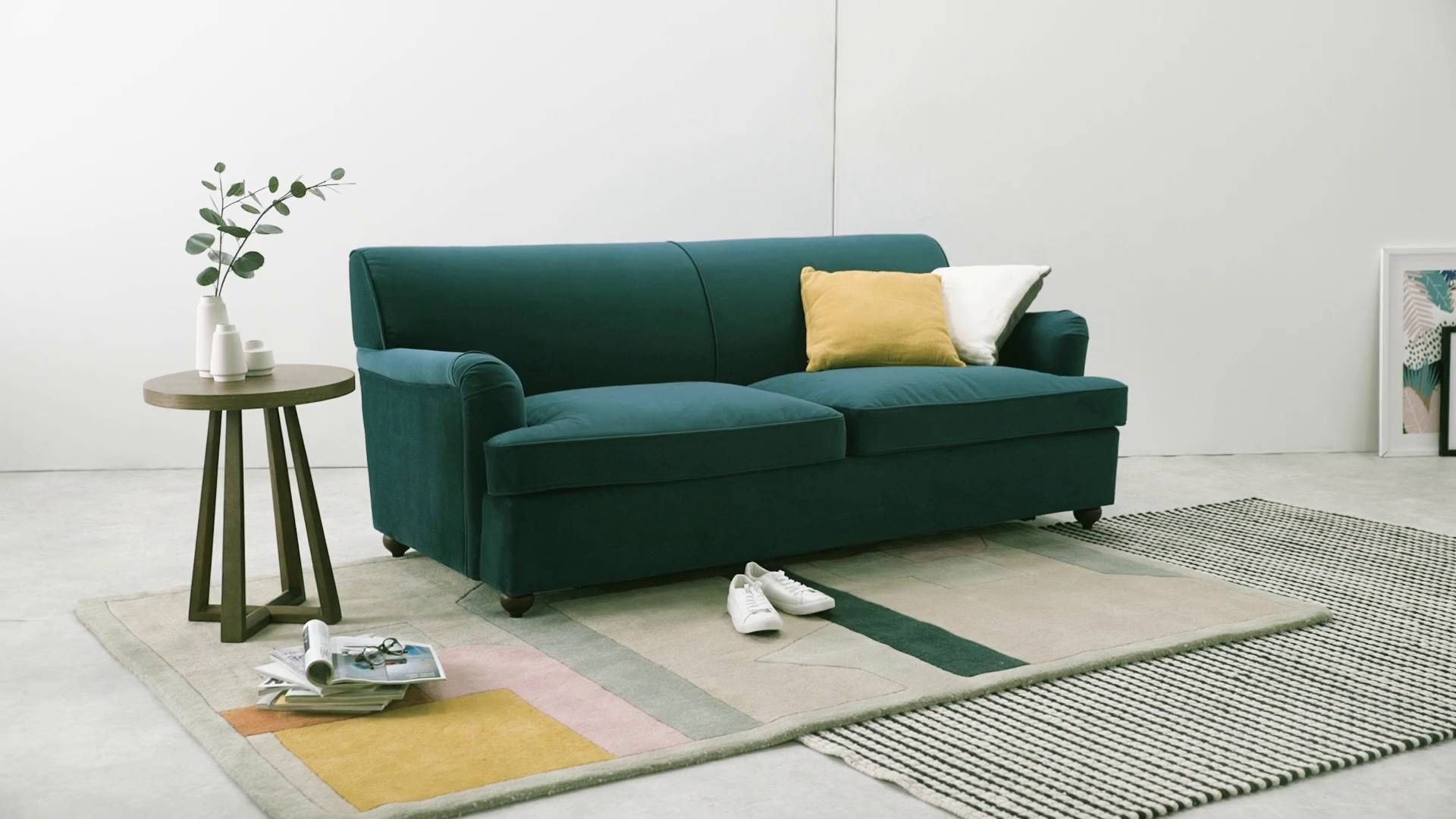MADE Seafoam Blue Velvet Sofa bed | Great Chairs & Sofas | 3 ...