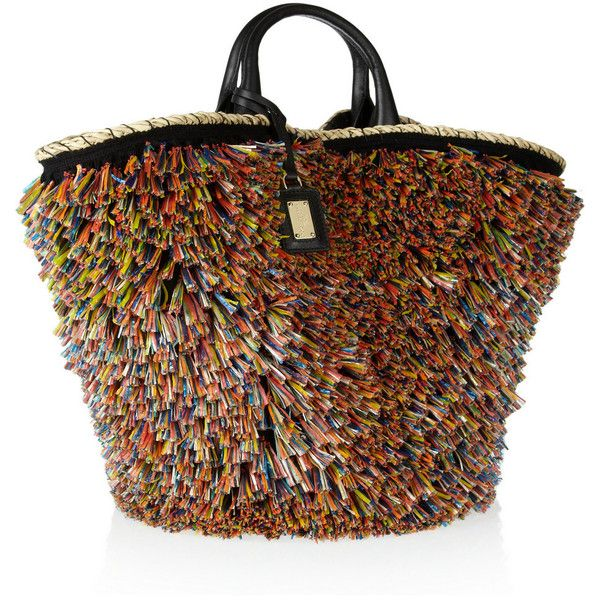 Dolce & Gabbana Miss Kendra raffia-trimmed straw and leather shopper ($1,895) found on Polyvore