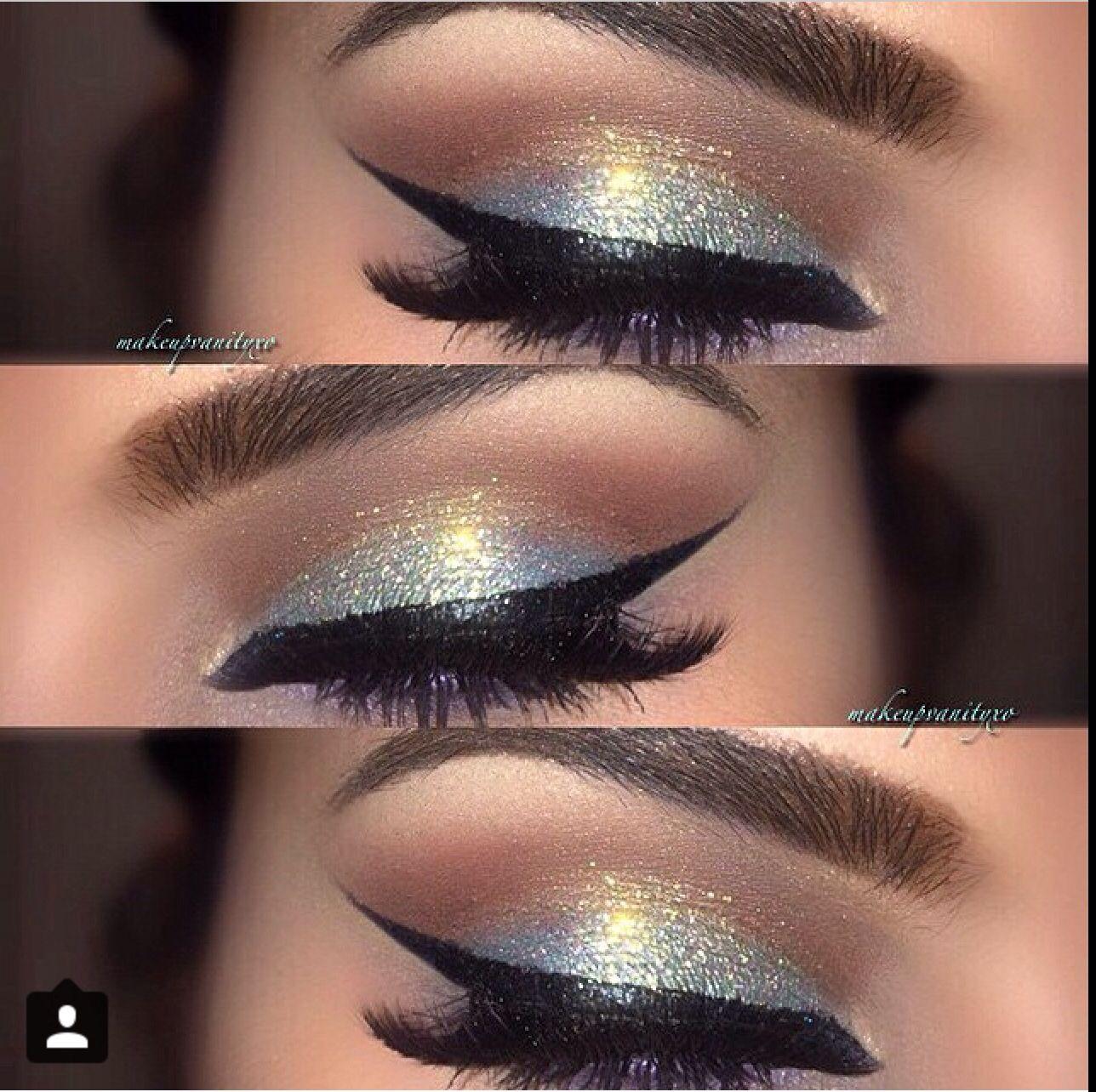 Gold And Silver Eyeshadow Black Eye Liner Silver Eyeshadow Eye Makeup Makeup [ 1284 x 1288 Pixel ]