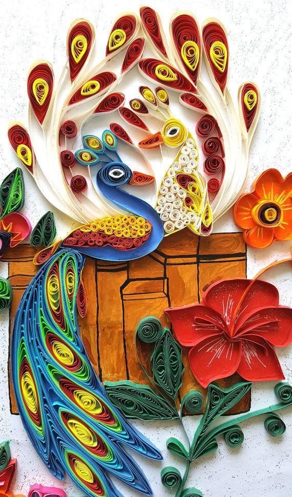 white Peacock wall hanging   wall art decal   peacock print ...