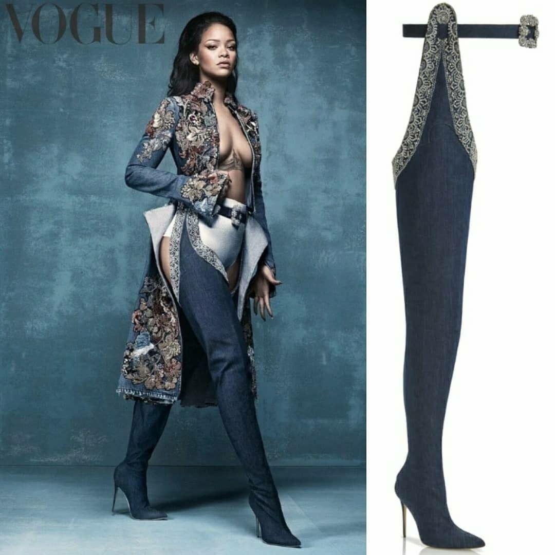 Rihanna × Manolo Blahnik boots Vogue 2016 Rihanna vogue