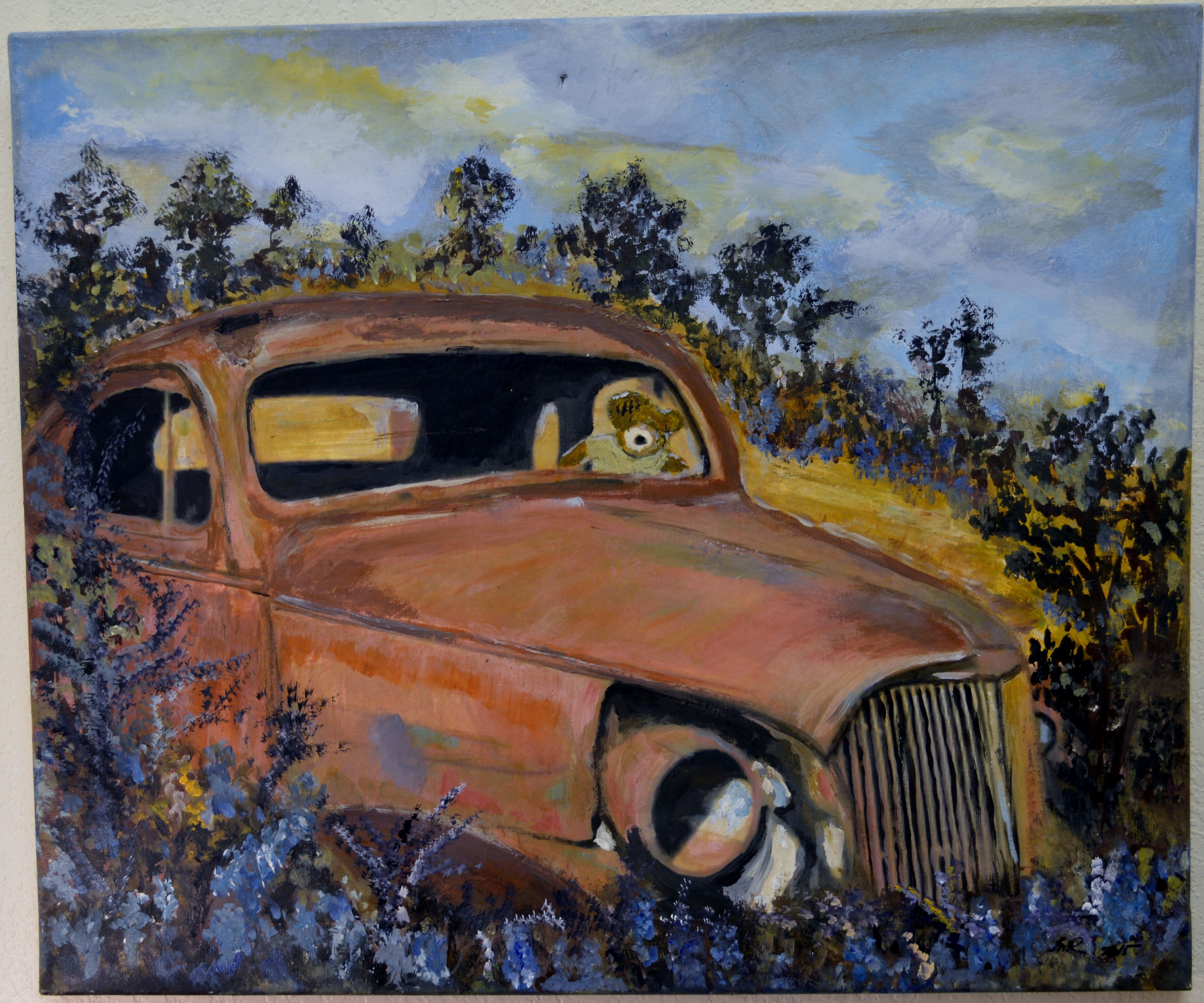 Abandoned cars Acrylic on canvas Mixed media Inez Ribeiro