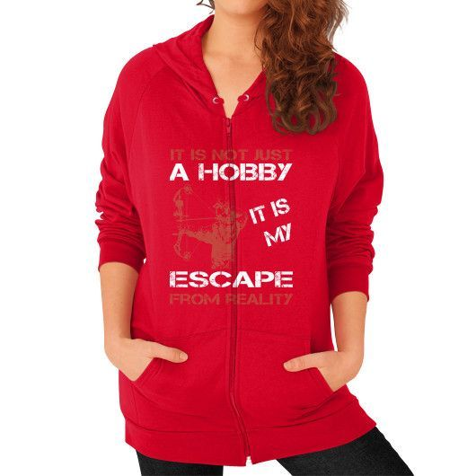 Bowhunting escape Zip Hoodie (on woman)
