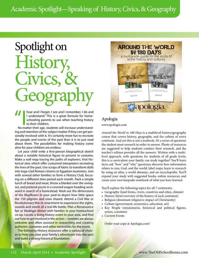 Academic Spotlight - History, Civics and Geography The Old Schoolhouse Magazine - March/April 2014 - Page 112