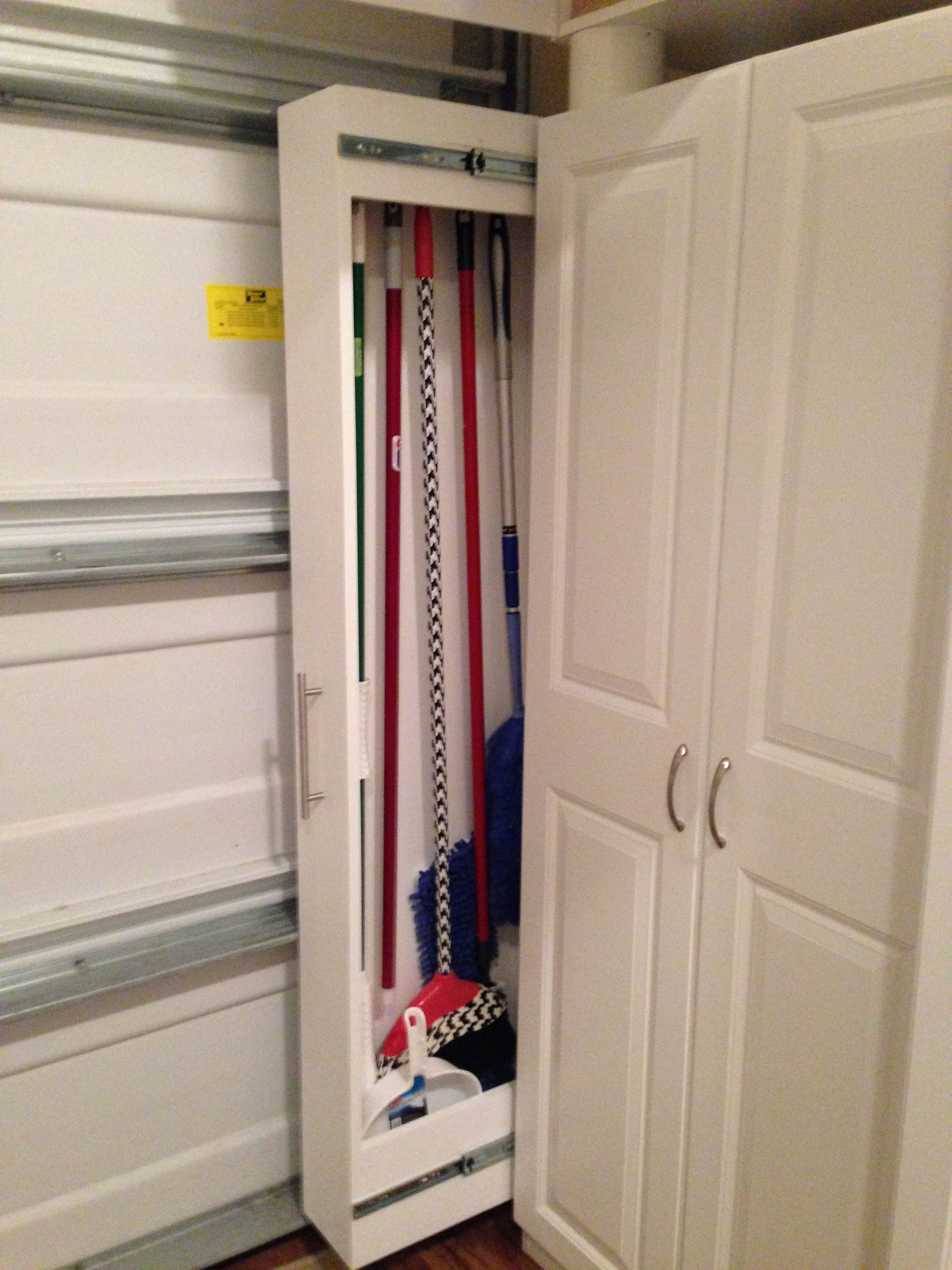 Garage Organized Broom Closet Garage Broom Storage