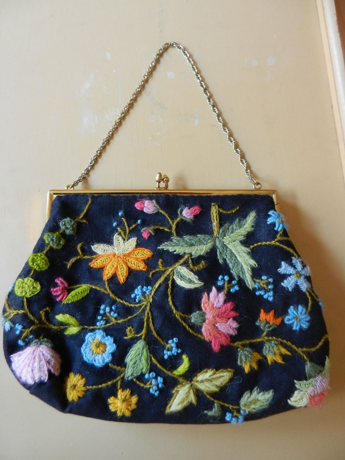 Vintage Crewelwork Embroidery Handbag Embroidery bags