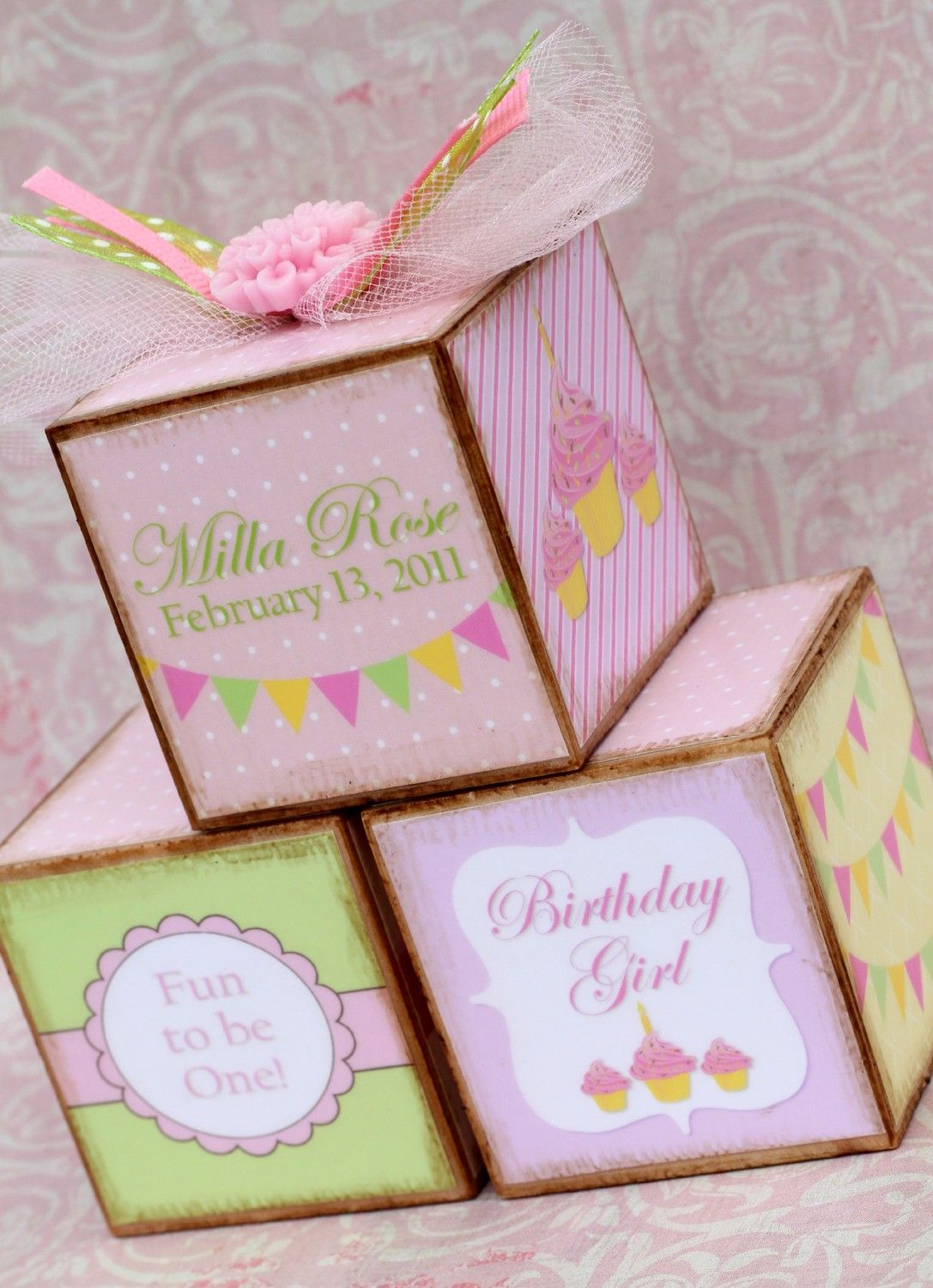 Personalized Vintage Pink First Birthday Photo Blocks Trio